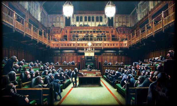 Banksy monkey parliament